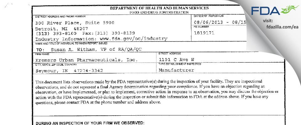 Lannett Company FDA inspection 483 Aug 2013