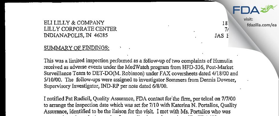 Eli Lilly & Company FDA inspection 483 Jul 2000