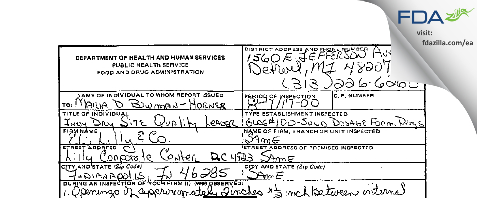 Eli Lilly & Company FDA inspection 483 Aug 2000