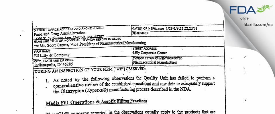 Eli Lilly & Company FDA inspection 483 Feb 2001
