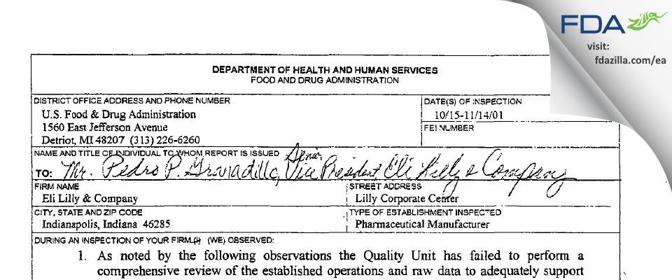 Eli Lilly & Company FDA inspection 483 Nov 2001
