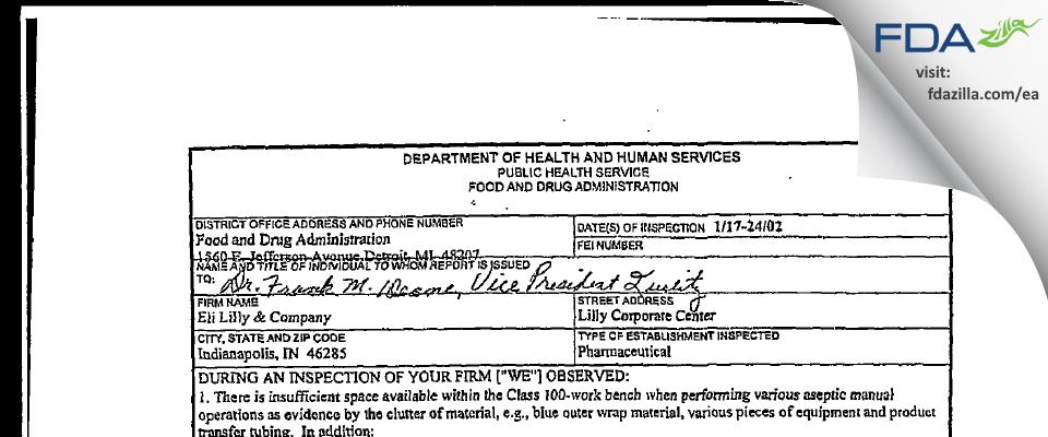 Eli Lilly & Company FDA inspection 483 Jan 2002
