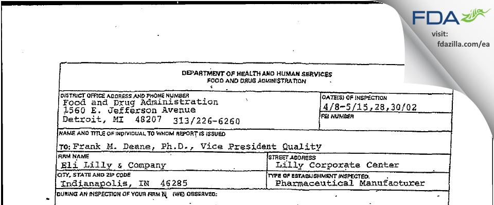 Eli Lilly & Company FDA inspection 483 May 2002