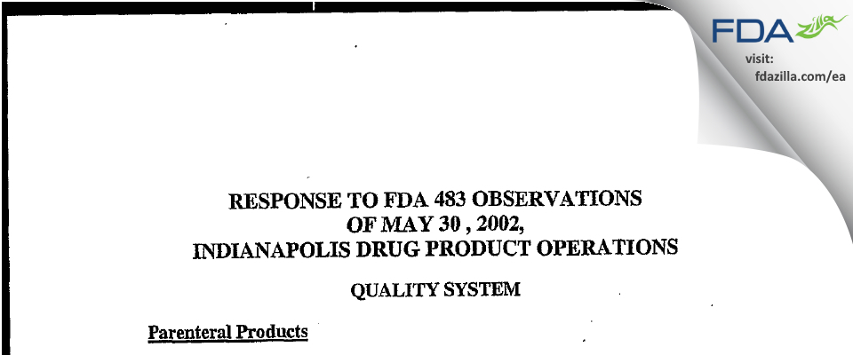 Eli Lilly & Company FDA inspection 483 May 2002