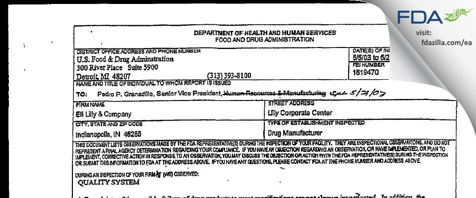 Eli Lilly & Company FDA inspection 483 May 2003