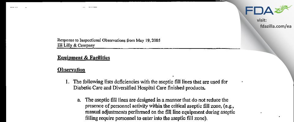Eli Lilly & Company FDA inspection 483 May 2005