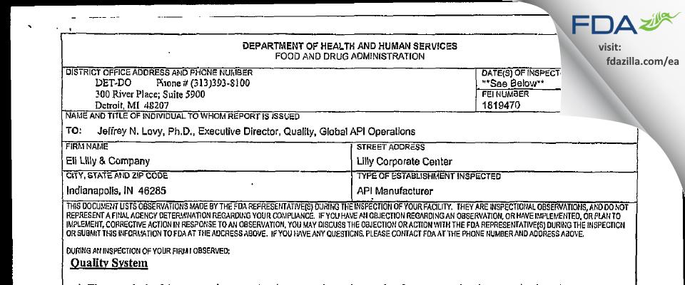 Eli Lilly & Company FDA inspection 483 Jun 2006