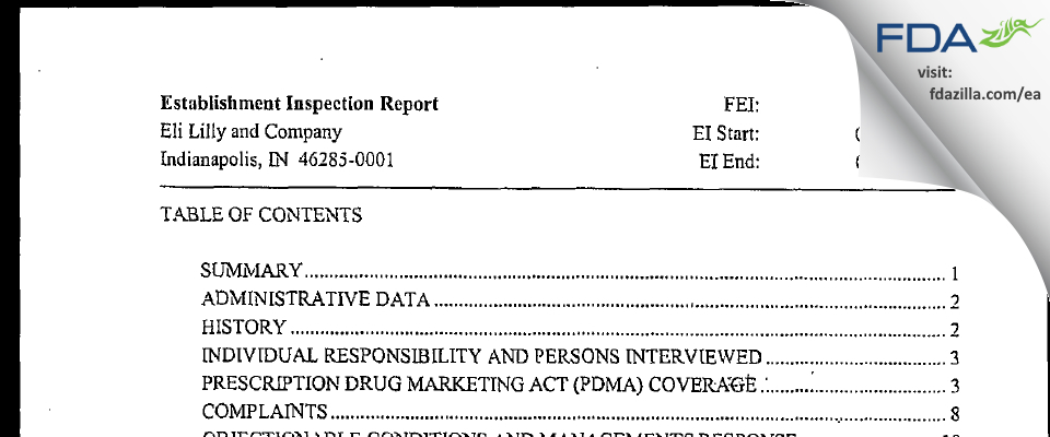 Eli Lilly & Company FDA inspection 483 Sep 2006