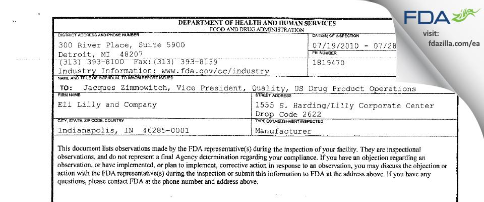 Eli Lilly & Company FDA inspection 483 Jul 2010