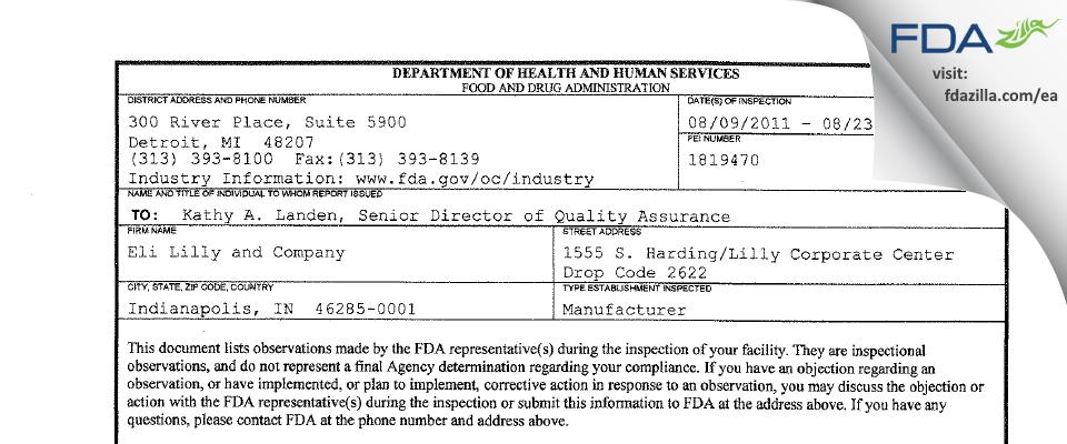Eli Lilly & Company FDA inspection 483 Aug 2011