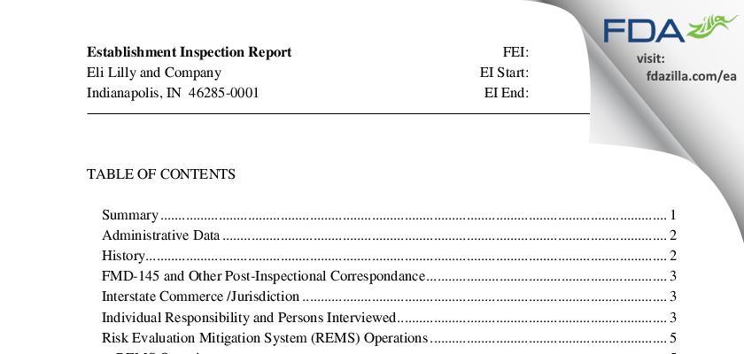 Eli Lilly & Company FDA inspection 483 Feb 2013