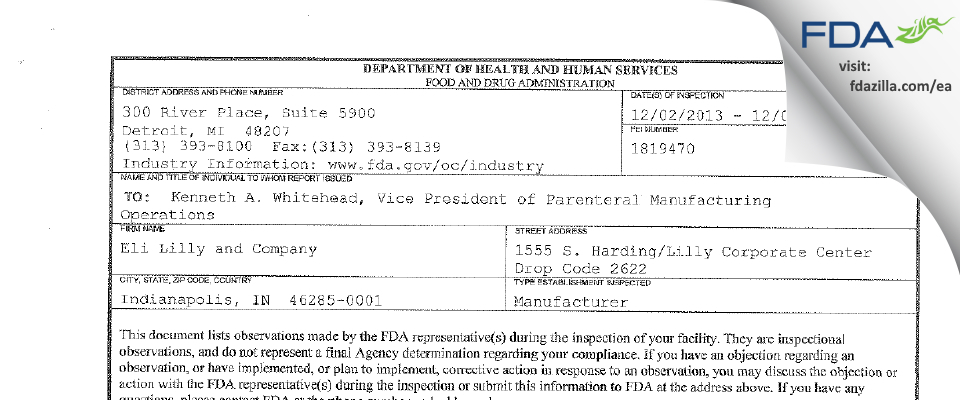 Eli Lilly and Company FDA inspection 483 Dec 2013