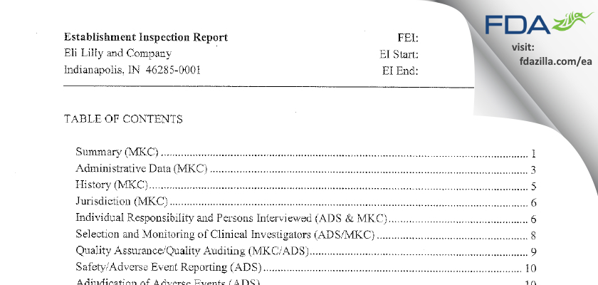 Eli Lilly & Company FDA inspection 483 May 2014