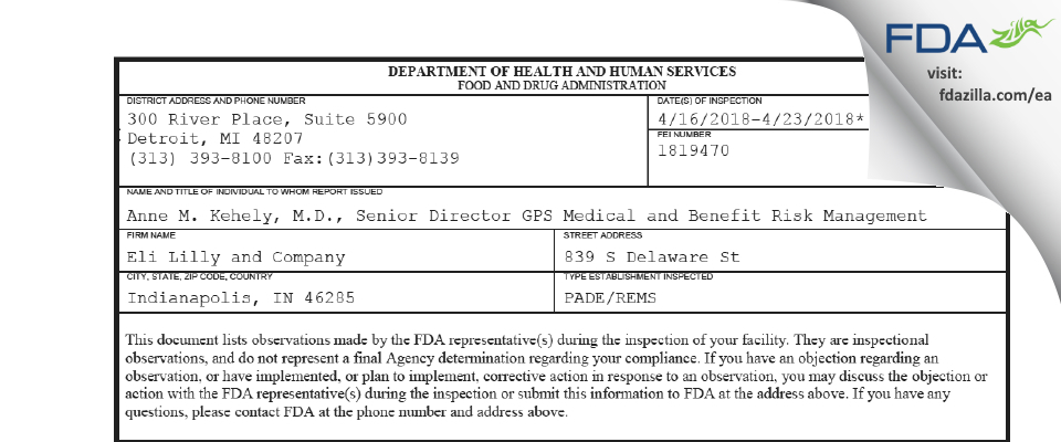 Eli Lilly & Company FDA inspection 483 Apr 2018