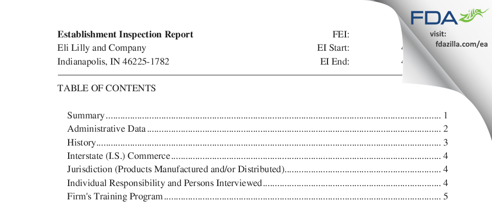 Eli Lilly & Company FDA inspection 483 Apr 2018