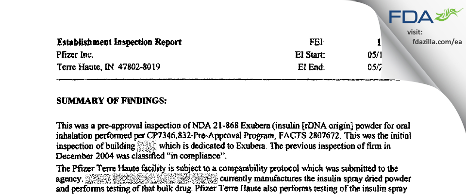 Pfizer FDA inspection 483 May 2005