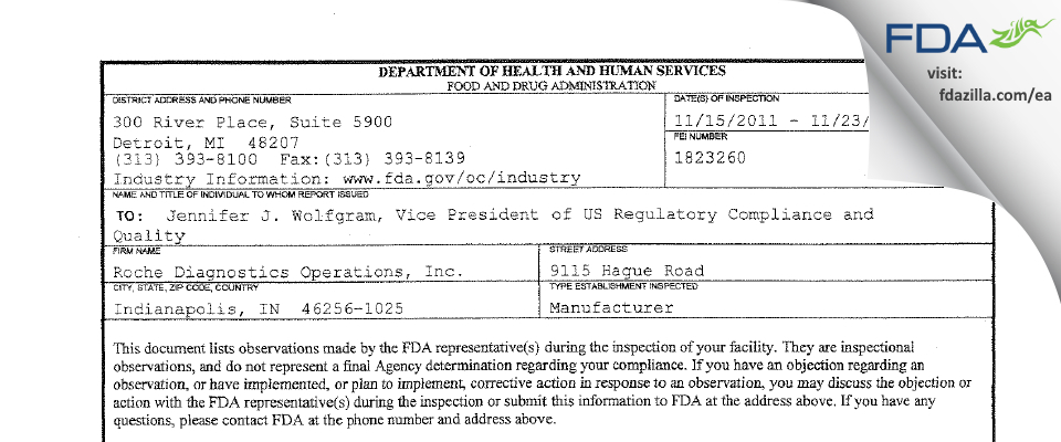 Roche Diagnostics FDA inspection 483 Nov 2011