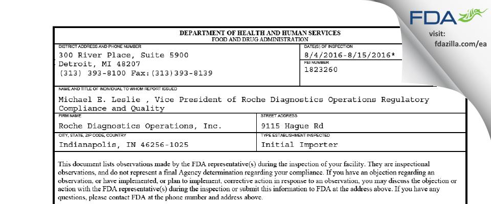 Roche Diagnostics FDA inspection 483 Aug 2016