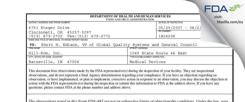 Hill-Rom FDA inspection 483 Jun 2007