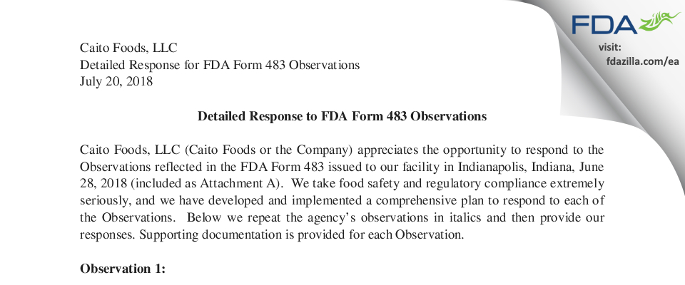 Caito Foods. FDA inspection 483 Jun 2018