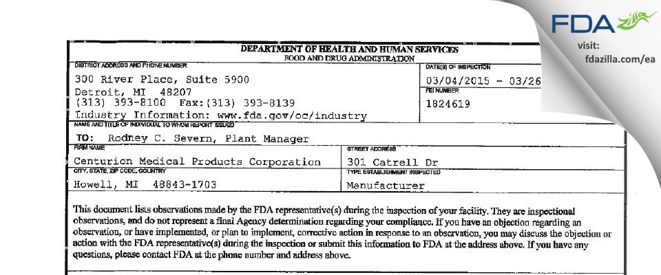 Centurion Medical Products FDA inspection 483 Mar 2015