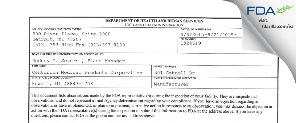 Centurion Medical Products FDA inspection 483 Sep 2015