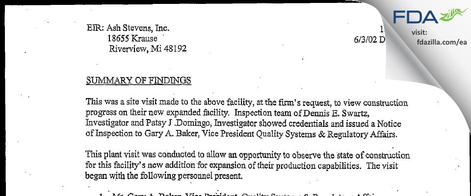 Ash Stevens FDA inspection 483 Jun 2002