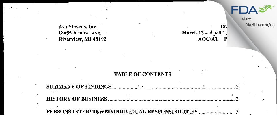 Ash Stevens FDA inspection 483 Apr 2003