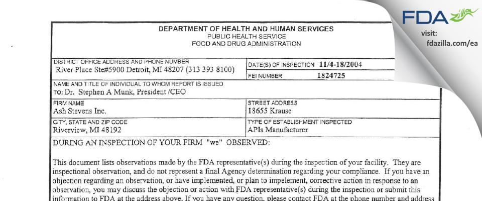 Ash Stevens FDA inspection 483 Nov 2004