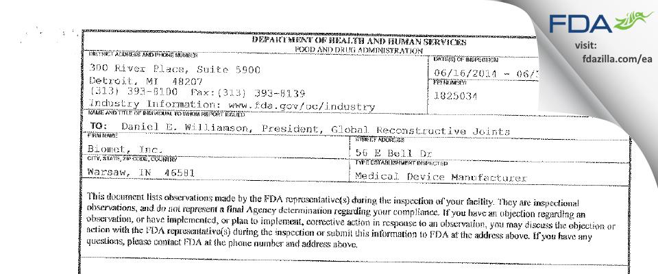 Zimmer Biomet FDA inspection 483 Jun 2014