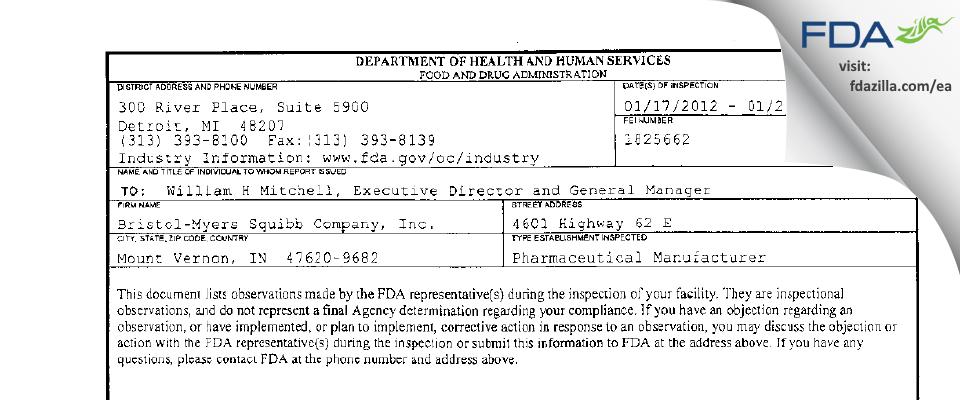 AstraZeneca Pharmaceuticals LP FDA inspection 483 Jan 2012