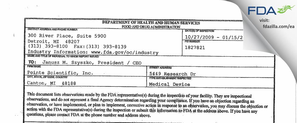 Medtest Holdings FDA inspection 483 Jan 2010