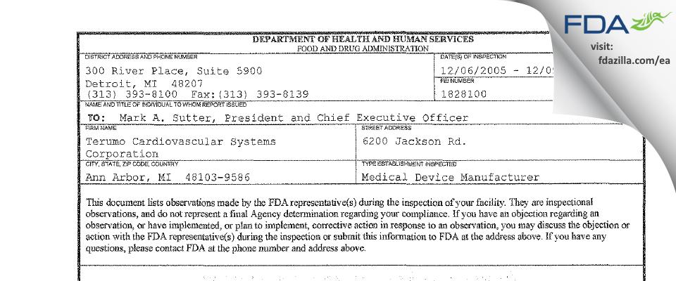 Terumo Cardiovascular Systems FDA inspection 483 Dec 2005