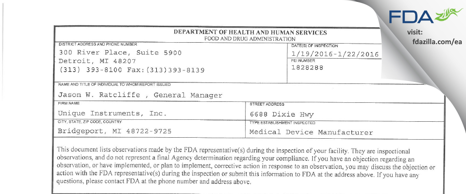 Unique Instruments FDA inspection 483 Jan 2016