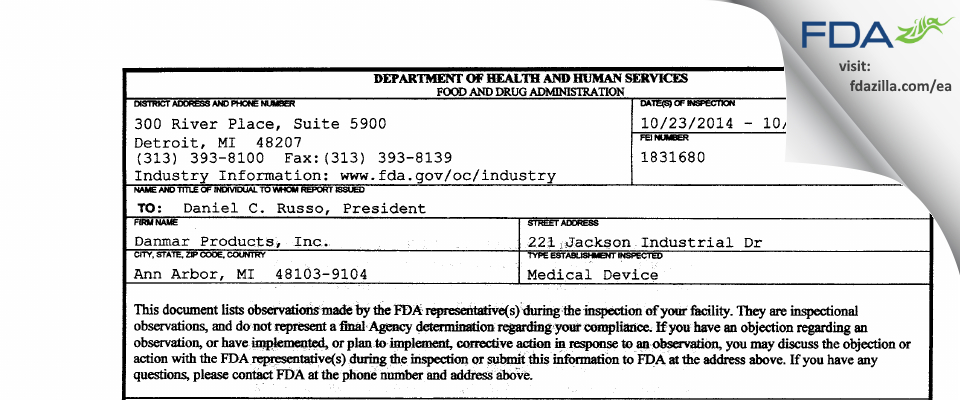 Danmar Products FDA inspection 483 Oct 2014