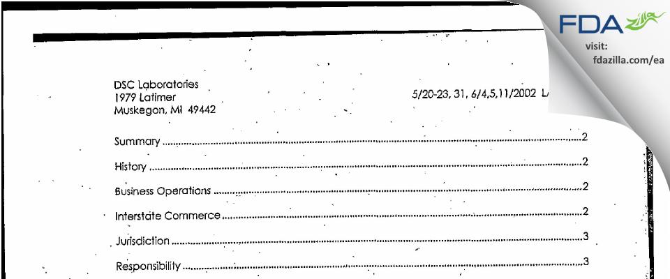 DSC Labs FDA inspection 483 Jun 2002