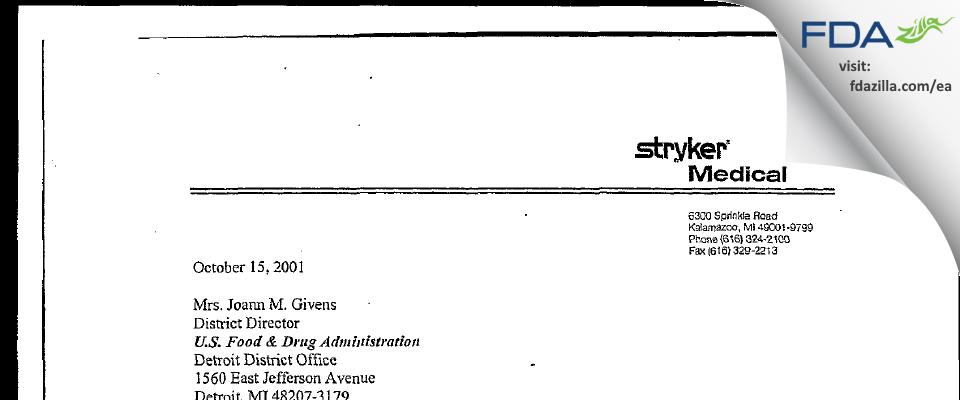 Stryker Medical Division of Stryker FDA inspection 483 Oct 2001