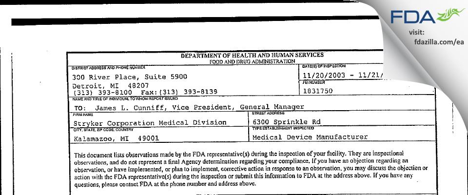 Stryker Medical Division of Stryker FDA inspection 483 Nov 2003