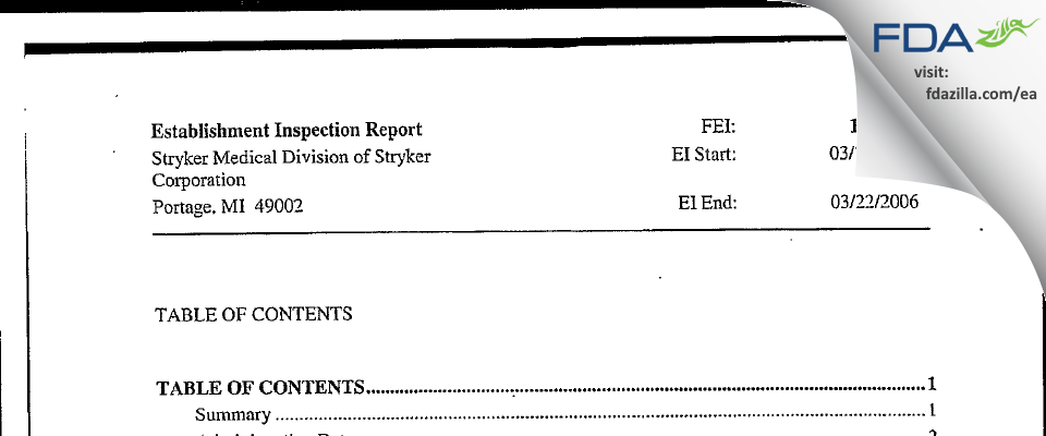 Stryker Medical Division of Stryker FDA inspection 483 Mar 2006