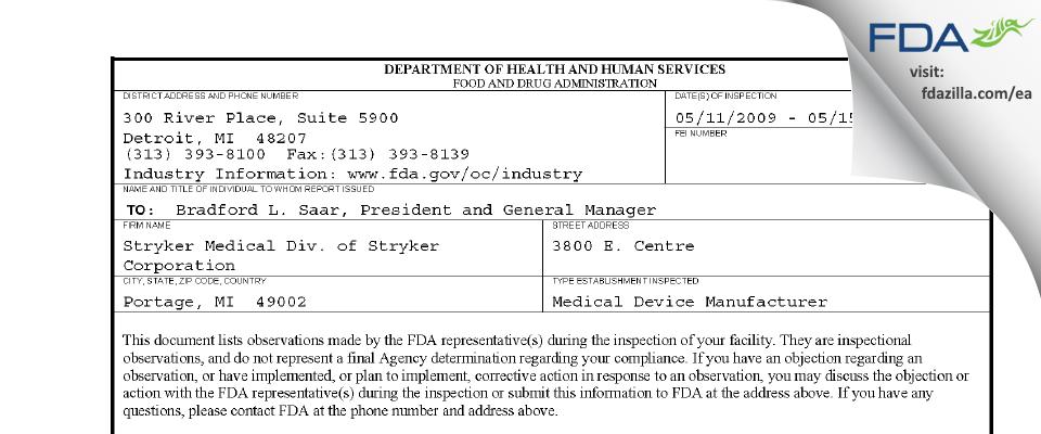 Stryker Medical Division of Stryker FDA inspection 483 May 2009