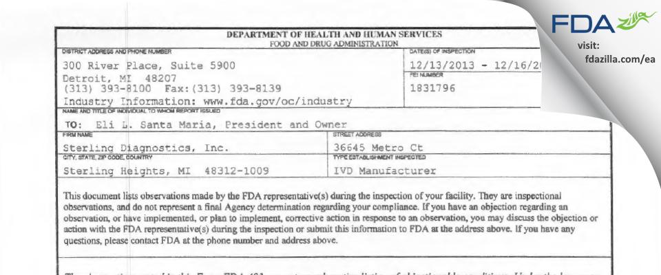Sterling Diagnostics FDA inspection 483 Dec 2013