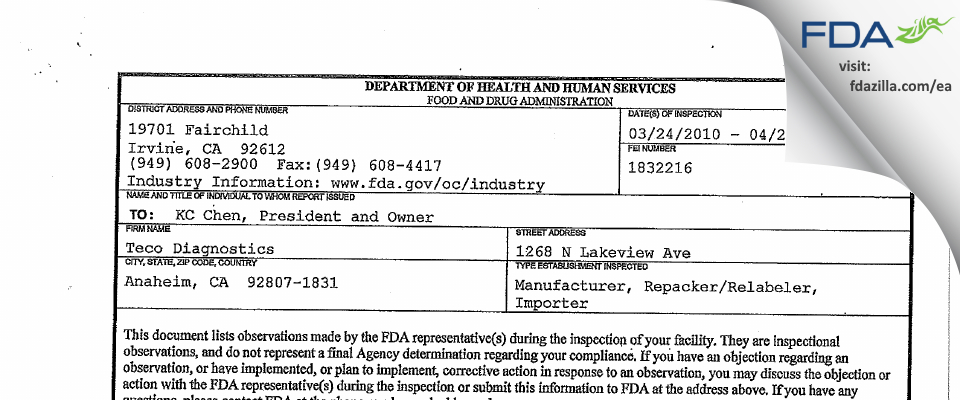 Teco Diagnostics FDA inspection 483 Apr 2010