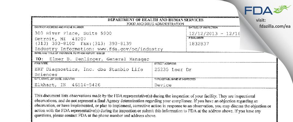 EKF Diagnostics dba EFK Life Sciences FDA inspection 483 Dec 2013