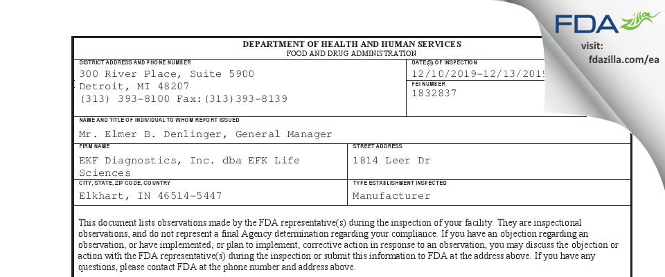 EKF Diagnostics dba EFK Life Sciences FDA inspection 483 Dec 2019