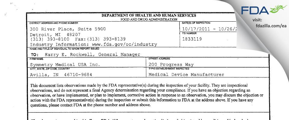 Symmetry Medical USA FDA inspection 483 Oct 2011