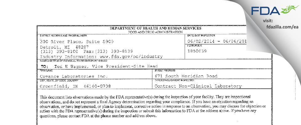 Covance Labs FDA inspection 483 Jun 2014