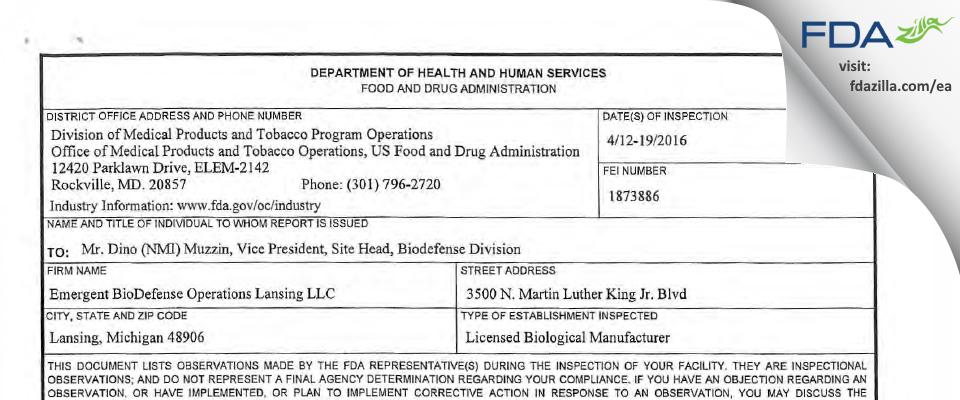 Emergent BioDefense Operations Lansing FDA inspection 483 Apr 2016