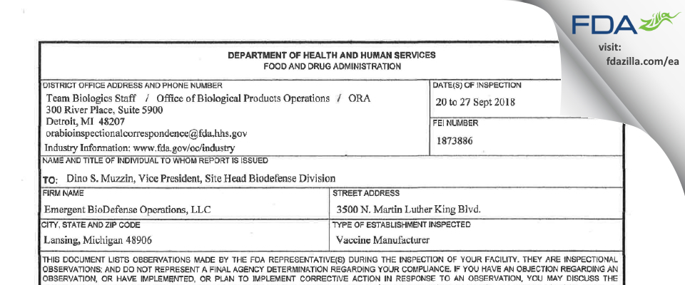 Emergent BioDefense Operations Lansing FDA inspection 483 Sep 2018