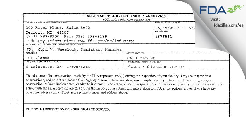CSL Plasma FDA inspection 483 May 2013