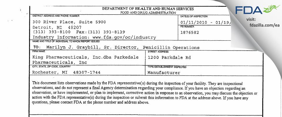 King Pharmaceuticals. FDA inspection 483 Jan 2010